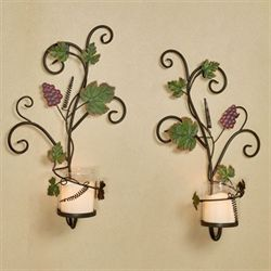 Vining Grapes Wall Sconces Sangria Set of Two