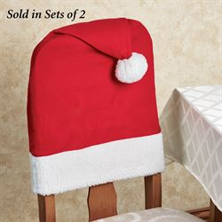 Santa Hat Chair Back Covers Red Set of Two