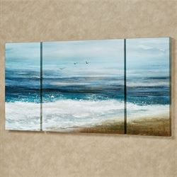 White Surf Triptych Canvas Wall Art Multi Cool Set of Three