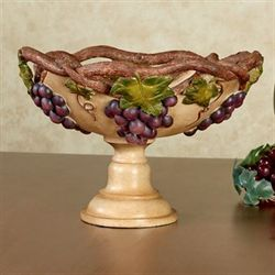 Grape Harvest Decorative Centerpiece Bowl Antique Ivory