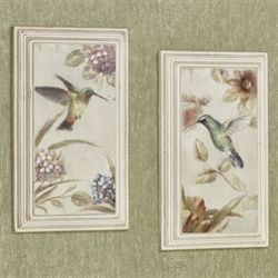 Sweetest of All Hummingbird Wall Plaques Multi Pastel Set of Two