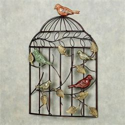 Bird Sanctuary Cage Wall ArtBrown