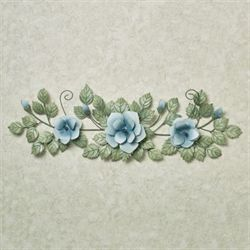 Les Fleurs Rose Swag Wall Accent Pastel Blue