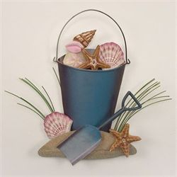 Bucket of Shells Wall Accent Multi Pastel