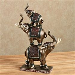 Elephants Pyramid Table Sculpture Burnished Gold