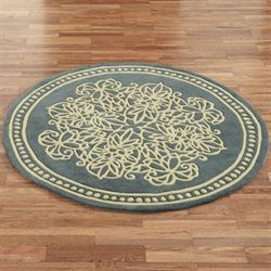 Lucia Lace Round Rug Steel Blue 5 Round