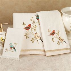 Gilded Bird Towel Set Ivory Bath Hand Fingertip