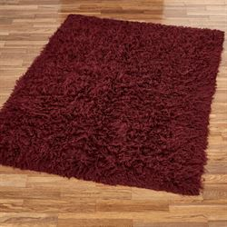Burgundy Flokati Rectangle Rug