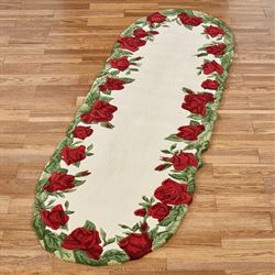 Regal Rose Oval Rug Runner Cream 23 x 76 Oval