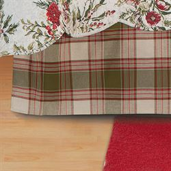 Jardin Rouge Plaid Kick Pleat Bedskirt White