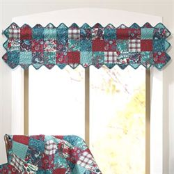 Abilene Patch Tailored Valance Teal 56 x 16