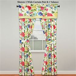 Charmed Wide Tailored Curtain Pair Light Cream 100 x 84