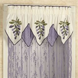 Wisteria Garden Layered Valance Light Cream 72 x 20