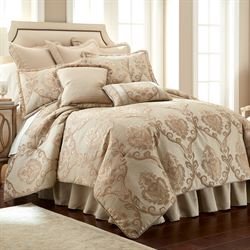 Prosper Beige And Gold Damask Comforter Bedding By Austin Horn Classics