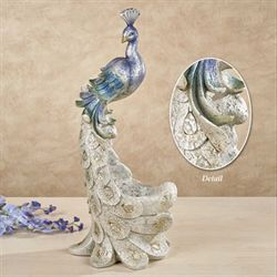 Graceful Peacock Accent Vase Ivory