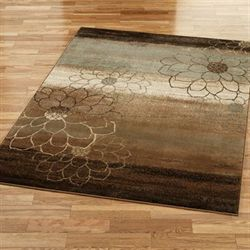 Flower Outline Rectangle Rug Brown