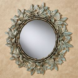 Bamboo Design Round Wall Mirror Aged Gold