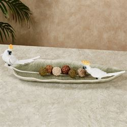 Cockatoo Palm Leaf Decorative Tray White