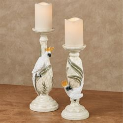 Cockatoo Candleholders White Set of Two