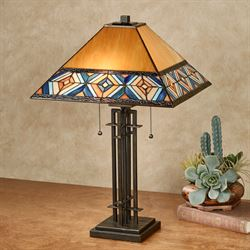 Austin Stained Glass Table Lamp Multi Earth Each with CFL Bulbs