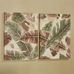 Palm Leaves Diptych Canvas Wall Art Multi Warm Set of Two