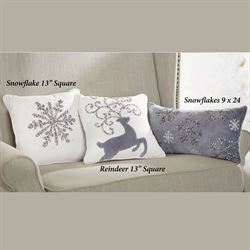 Beaded Snowflake Pillow Off White 13 Square