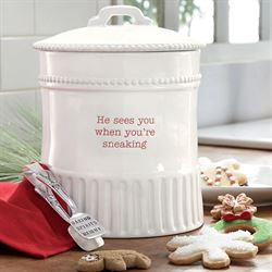 Holiday Cookie Jar and Tongs White 2 Piece Set