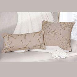 Beaded Starfish Rectangle Pillow Natural 9 x 18