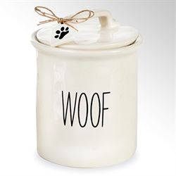 Woof Dog Treat Canister White