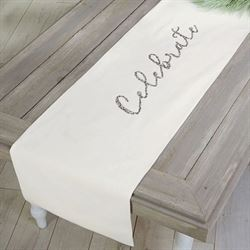 Celebrate Table Runner Off White 18 x 72