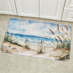 Coastal Landscape Cushioned Rectangle Mat Blue 36 x 23
