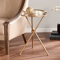 Helix Mirrored Accent Table Antique Gold