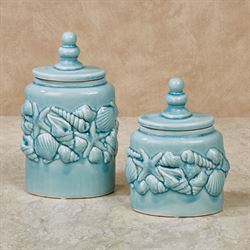 Coastal Shells Decorative Jars Blue Set of Two