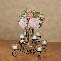 Brilliant Centerpiece Vase in Stand Black