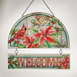 Crimson Christmas Welcome Window Art Red