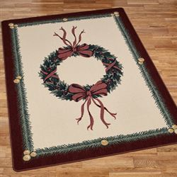 Holiday Wreath Rectangle Rug Light Cream