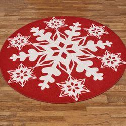 Nordic Snowflake Round Rug Scarlet 54 Round