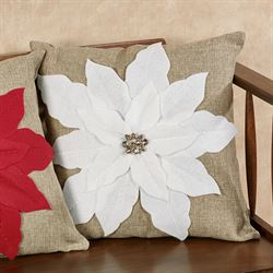 Christmas Red Poinsettia Pillow