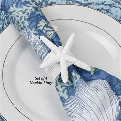 Starfish Coastal Napkin Rings White Set of Four