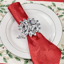 Jeweled Snowflake Napkin Rings Silver Set of Four