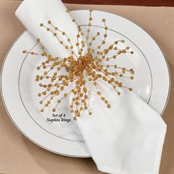 Starburst Napkin Rings Gold Set of Four