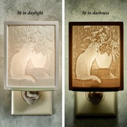 Cat with Flowers Nightlight Light Cream