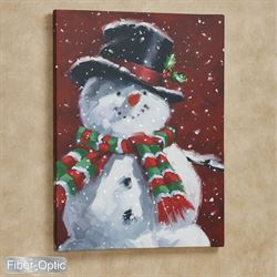 Festive Snowman Lighted Canvas Wall Art Red