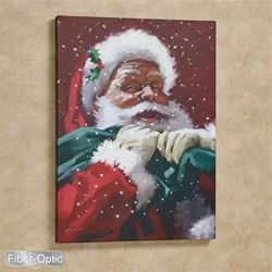 Jolly Santa Lighted Canvas Wall Art Red