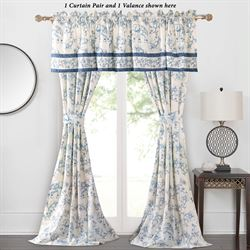 Saffi Tailored Curtain Pair Blue 84 x 84