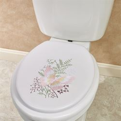 Springtime Butterfly Elongated Toilet Seat White