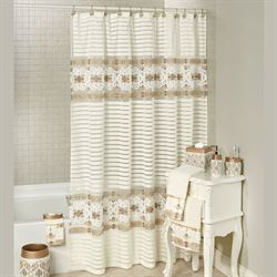 Savoy Semi Sheer Shower Curtain Light Cream 72 x 72