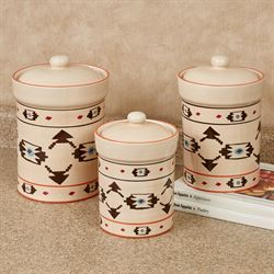 Artesia Southwest Kitchen Canisters Cream Set of Three