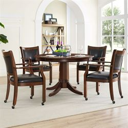 Duncan Game Table and Chairs Dark Cherry Set of Five