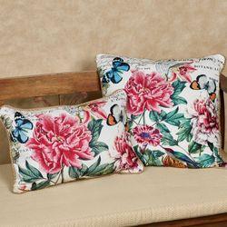 Peony Floral Rectangle Pillow Pink 18 x 12